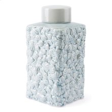 Shells Lg Covered Jar Blue