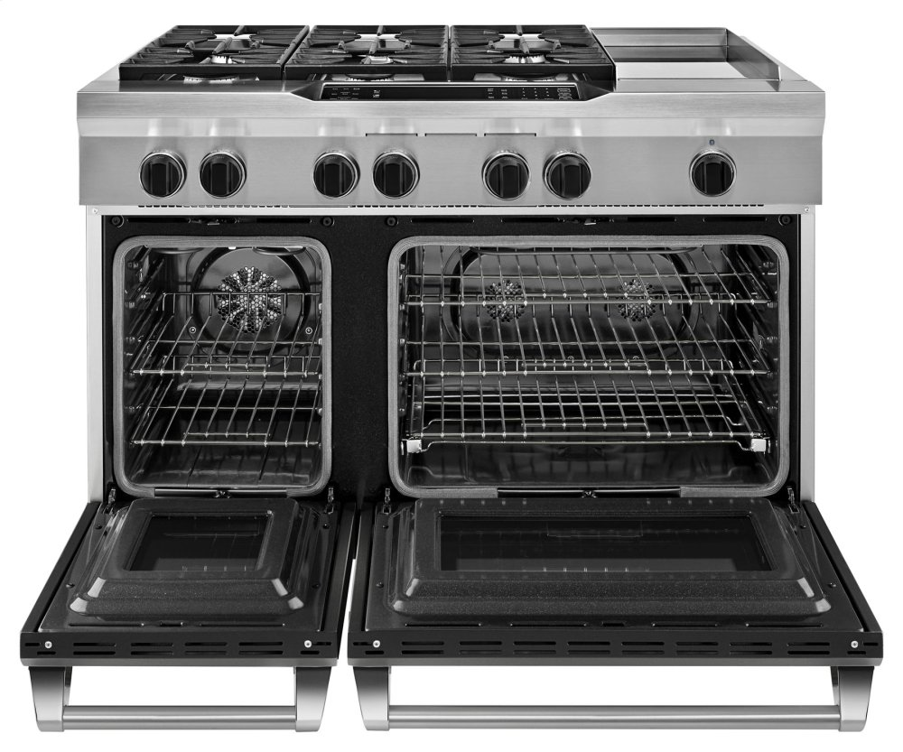 KDRS483VBKKitchenaid 48'' 6-Burner With Griddle, Dual Fuel Freestanding Range, Commercial-Style