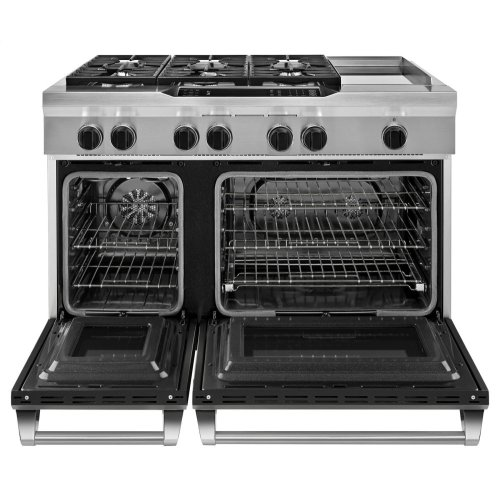 48'' 6-Burner with Griddle, Dual Fuel Freestanding Range, Commercial-Style - Imperial Black