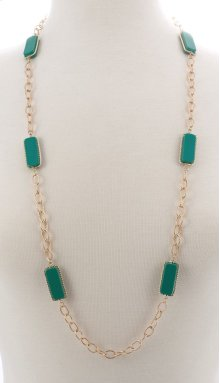 BTQ Faceted Dark Green Stone Necklace