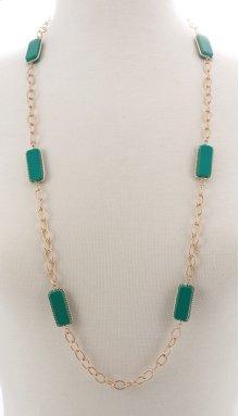 BTQ Faceted Dark Green Stone Necklace
