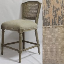 Barnwood Gray Ethan Counter Stool in Linen/Cane Back