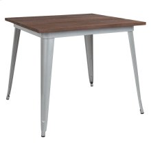 "36"" Square Silver Metal Indoor Table with Walnut Rustic Wood Top"