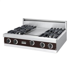 "Chocolate 36"" Sealed Burner Rangetop - VGRT (36"" wide, four burners 12"" wide griddle/simmer plate)"