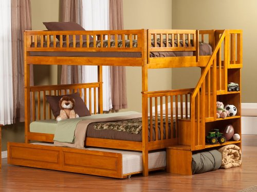 Woodland Staircase Bunk Bed Full over Full with Raised Panel Trundle Bed in Caramel Latte