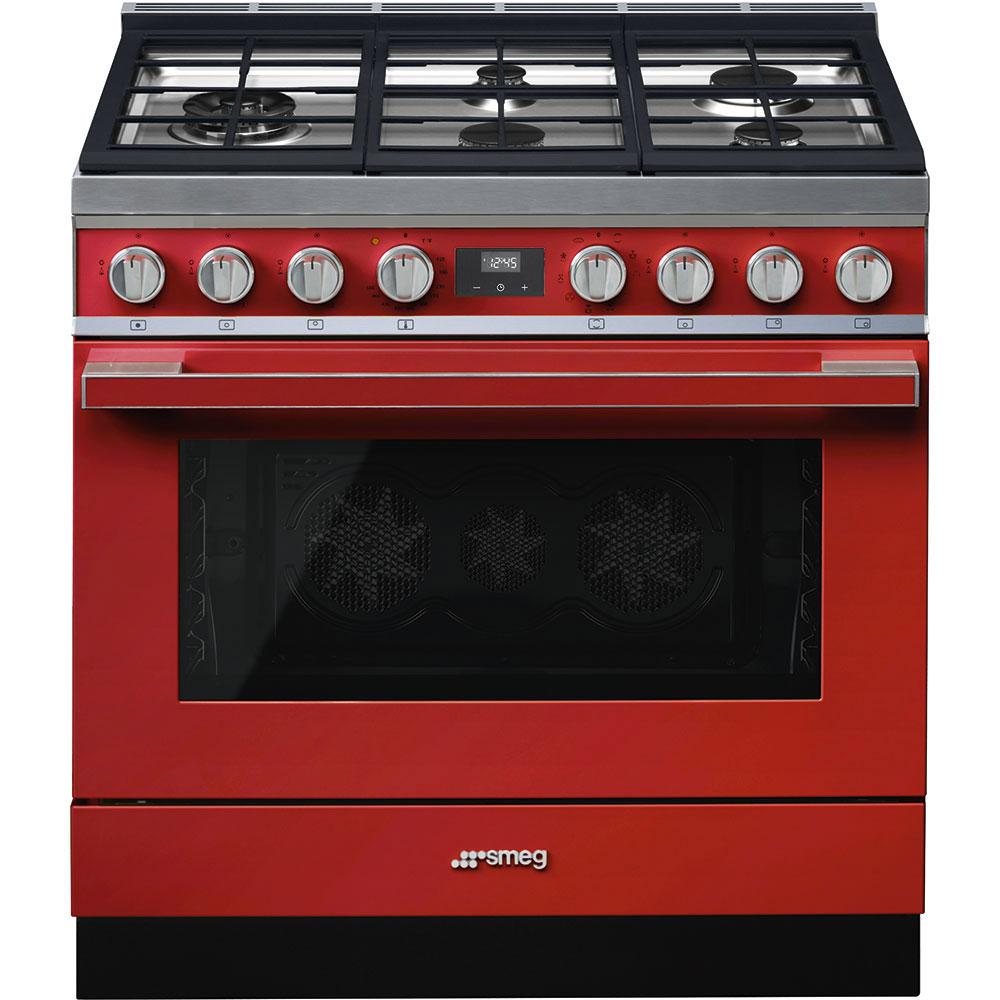 """SmegPortofino Pro-Style Dual Fuel Range, Red, 36"""" X 25"""""""
