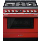 "Portofino Pro-Style Dual Fuel Range, Red, 36"" x 25"" Product Image"