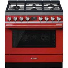 "Portofino Pro-Style Dual Fuel Range, Red, 36"" x 25"""
