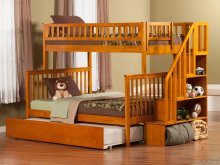 Woodland Staircase Bunk Bed Twin over Full with Urban Trundle Bed in Caramel Latte