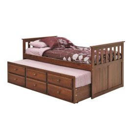 Pine Ridge Chocolate Mission Captain's Bed with Trundle and Storage with options: Chocolate
