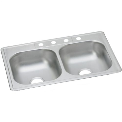 """Dayton Stainless Steel 33"""" x 21-1/4"""" x 6-9/16"""", Equal Double Bowl Drop-in Sink"""