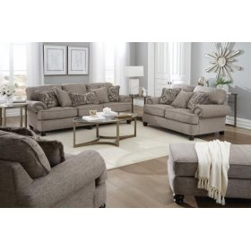 Taupe Roll Arm Loveseat