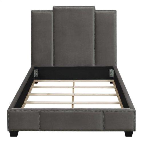 Lawndale Grey Velvet Upholstered Queen Bed