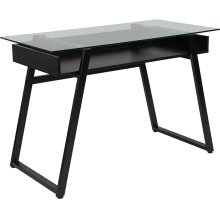 Huntley Glass Computer Desk with Shelf and Black Metal Legs