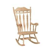 Unfinished Carved Back Rocking Chair