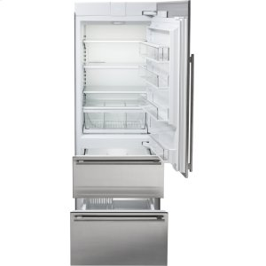 """30"""" Designer Over-and-Under Refrigerator/Freezer with Ice Maker and Internal Dispenser - Panel Ready"""