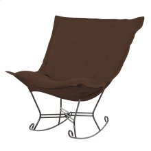 Scroll Puff Rocker Sterling Chocolate Titanium Frame