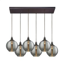 Ridley 6 Light Rectangle Pendant in Oil Rubbed Bronze with Smoke Plated Beehive Glass