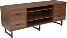 Lincoln Collection TV Stand in Rustic Wood Grain Finish