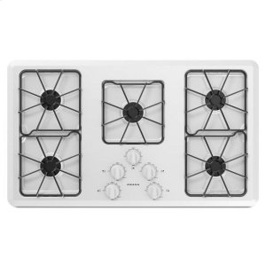36-inch Gas Cooktop with Front Controls - white - WHITE