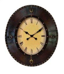 Oval Leather Clock