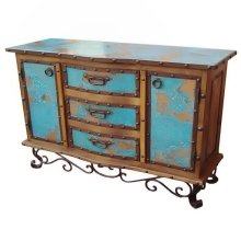 Turquoise Copper Buffet W/Iron Base