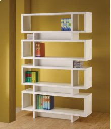 - Seven tier bookcase finished in white - Constructed with MDF, particle board, and engineered veneer- Also available in cappuccino (#800307)