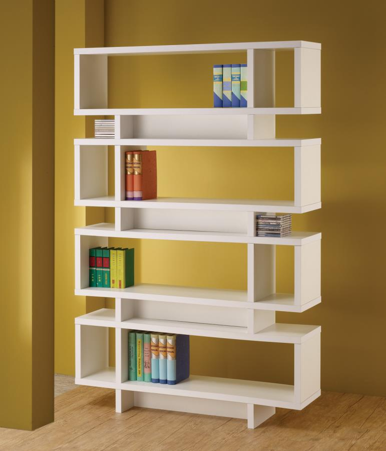 Seven Tier Bookcase Finished In White   Constructed With MDF, Particle  Board, And