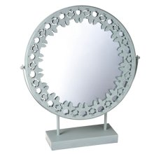 Light Blue Mirror on Stand with Patterned Metal Trim.