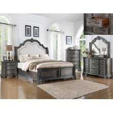 Sheffield Grey Queen Bedroom Set: Queen Bed, Nightstand, Dresser & Mirror