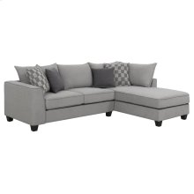 2pc Sectional-lsf Loveseat-rsf Chaise W/4 Accent Pillows-murphy Pewter #zw7474-1