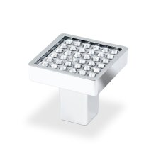 Small Sqaure Knob With Round Swarovski Crystal, Bright Chrome