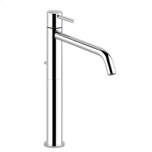 "High version basin mixer with 1 1/4"" pop-up waste and flexible hoses with 3/8"" connections"