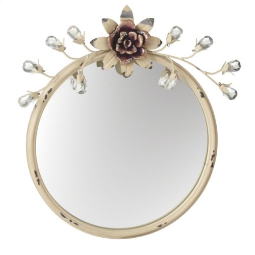 Distressed Ivory Jewel Flower Vanity Mirror