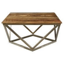 Bengal Manor Mango Wood and Iron Square Coffee Table