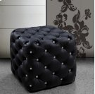 Divani Casa Nina Black Eco-Leather Pouf With Crystals Product Image