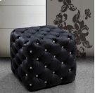 Divani Casa Nina Black Eco-Leather Pouf With Crystals Product Image