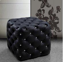Divani Casa Nina Black Eco-Leather Pouf With Crystals