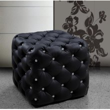 Divani Casa Nina Black Eco-Leather Pouf With Crystals