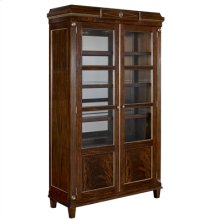 ESPRESSO FINISHED NEOCLASSICAL MAHOGANY DISPLAY CABINET WI TH ANTIQUE MIRROR GLASS AND VI