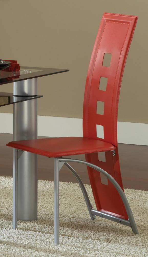 Metro Metal Dinette Chair   Red