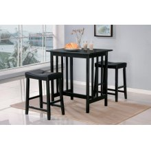 3-Piece Pack Counter Height Set, Black