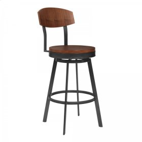 """Conway 30"""" Bar Height Barstool in Mineral Finish and Walnut Seat"""
