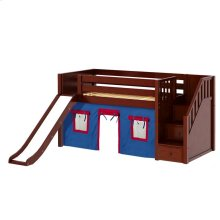 Low Loft Bed with Staircase on End, Slide & Curtain