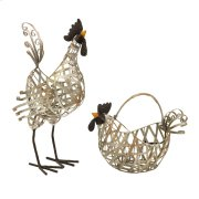 Gentry Wire Chickens and Basket - Set of 2 Product Image