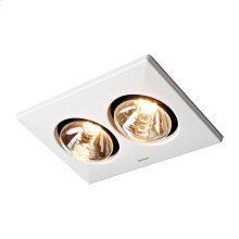 Two-Bulb Heater/Fan, (2) 250W BR40 Infrared Bulbs, Type IC, UL Listed for 60°C wiring (retrofits)