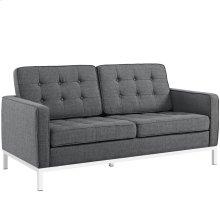 Loft Upholstered Fabric Loveseat in Gray