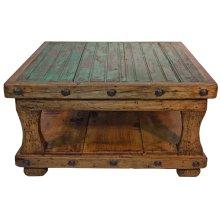 Reclaimed Wood Square Coffee Table w/ Shelf