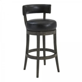 """Armen Living Corbin 26"""" Counter Height Barstool in American Grey Finish and Onyx Faux Leather"""