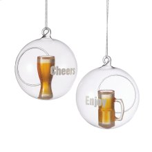 """""""Cheers"""" and """"Enjoy"""" Beer Glass in Ball Ornament (2 asstd)"""